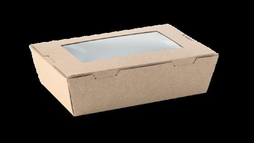 1100ml (180x120x50) Brown Kraft Window Lunch Box