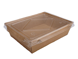 1500ml (Base188x130x60) Lined Brown Lunch Box with PET Lid
