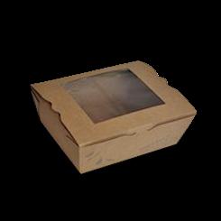 Medium (152x120x64) Window PLA Lined Brown Lunch Box