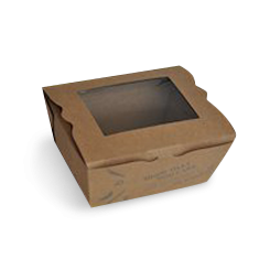 Small (110x90x64) Window PLA Lined Brown Lunch Box
