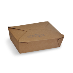 Large (197x140x64) PLA Lined Brown Lunch Box