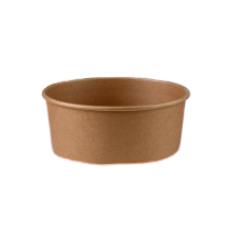 1000ml (150Dx78h) Brown Kraft Round Salad Bowl