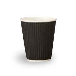 8oz Black Corrugated Wall Coffee Cup
