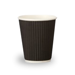 12oz Black Corrugated Wall Coffee Cup