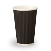 16oz Black Corrugated Wall Coffee Cup