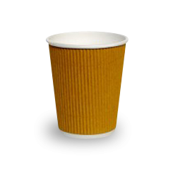 8oz Brown Corrugated Wall Coffee Cup