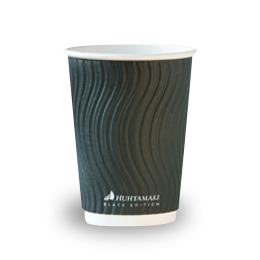 12oz Callisto Black Corrugated Wall Coffee Cup