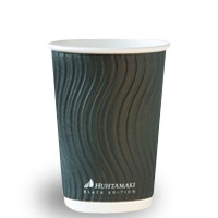 16oz Callisto Black Corrugated Wall Coffee Cup