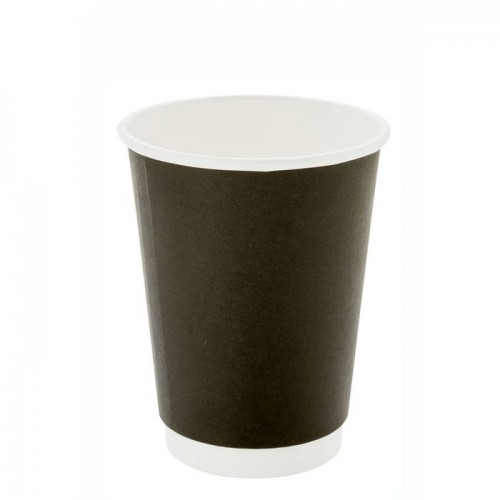 12oz Black Double Wall Coffee Cup
