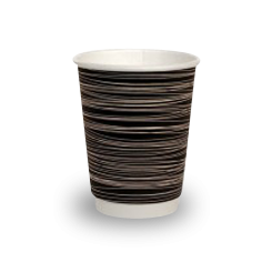 12oz Black with Swirl Double Wall Coffee Cup