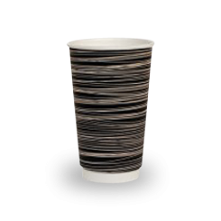 16oz Black with Swirl Double Wall Coffee Cup