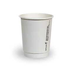 8oz PLA Lined White Double Wall Coffee Cup