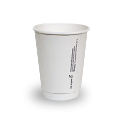 12oz PLA Lined White Double Wall Coffee Cup