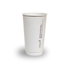 16oz PLA Lined White Double Wall Coffee Cup