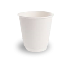 8oz (Fits 12oz Lid) White Double Wall Coffee Cup