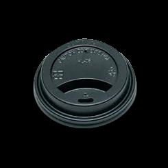 6oz / 8oz Black Flat Plastic Hot Lid