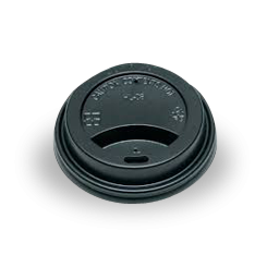 6oz / 8oz Black Flat Plastic Takeaway Coffee Lid