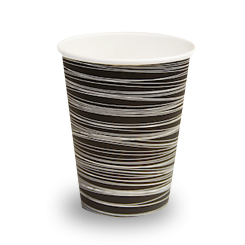 16oz Black with Swirl Single Wall Coffee Cup