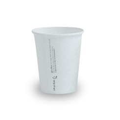 8oz PLA Lined White Single Wall Coffee Cup