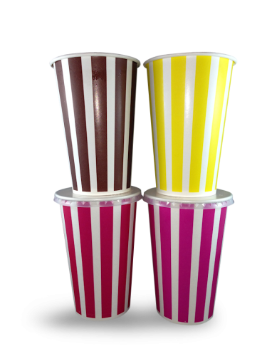 16oz / 490ml (89Dx127) Candy Stripe Cold Paper Cup