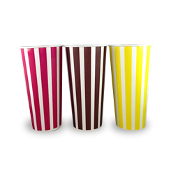 22oz / 650ml (89Dx168) Candy Stripe Cold Paper Cup