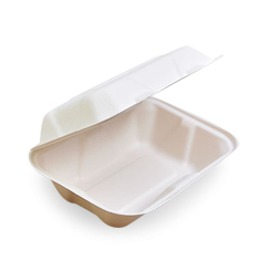 Snack / Hot Dog (229x152x76) Sugarcane Bagasse Clamshell