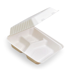 Large Square 3 Comp(229x229x76) Sugarcane Bagasse Clamshell
