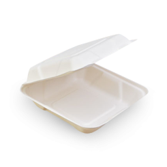 Large Square (229x229x76) Sugarcane Bagasse Clamshell
