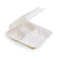 Regular Square 3 Comp (203x203x58) Sugarcane Bagasse Clamshell