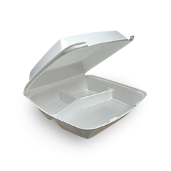 Dinner 3-Compartment (240x240x70) Foam Clamshell