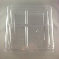 Lrg Lunch-4 Compart (250x240x75) Clear Hinged Plastic Container