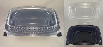 Sml (150x225x75) MWv Clr/Bk Hinged Plast Cont