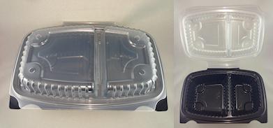 Sml 2-Comp Bs/Ld (150x225x75) MWv Clr/Bk Hinged Plast Cont