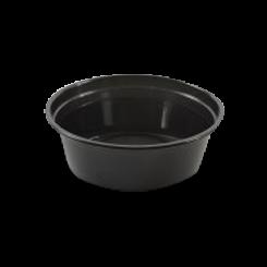 8oz/225ml (119Dx39) Black Round Plastic Container