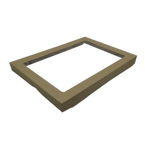 Medium (250x360x85) Window Brown Catering Tray - Lid