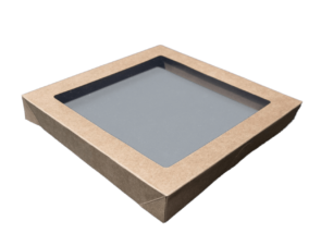 Square (229x228x30) Window Brown Catering Tray - Lid