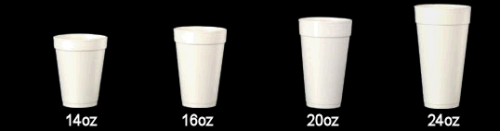 16oz/473ml Plain White Foam Drink Cup