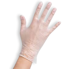 Large Lightly Powdered Clear Vinyl Gloves