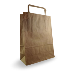Baby (180+80x240h) Brown Flat Fold Handle Paper Bag