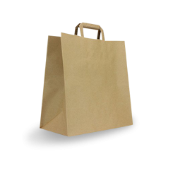 Medium CheckOut (320+170x330h) Brown Flat Fold Handle Paper Bag
