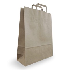 Medium (320w+120x400h) Brown Flat Fold Handle Paper Bag
