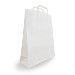 Small (250w+120x350h) White Flat Fold Handle Paper Bag