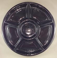 15inch Black Round 6 Comprtmnt Plastic Platter