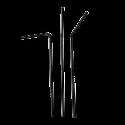 210mm Black Flexi Plastic Straw