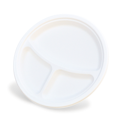 9 inch 3 Compartment (225D) Sugarcane Bagasse Round Plate